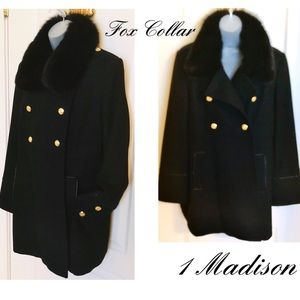 1 Madison Fox Wool Military Coat Gorgeous Perfect